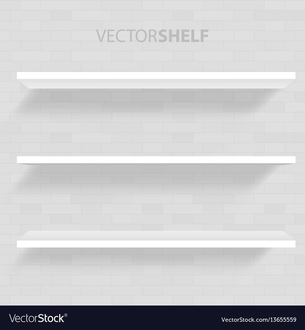 White shelf in gray background