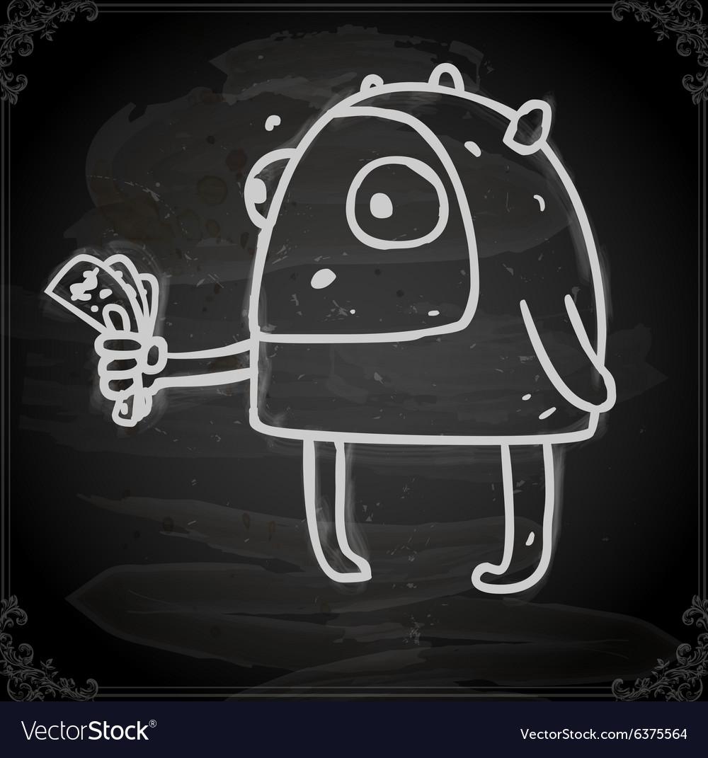 Alien with Money Drawing on Chalk Board