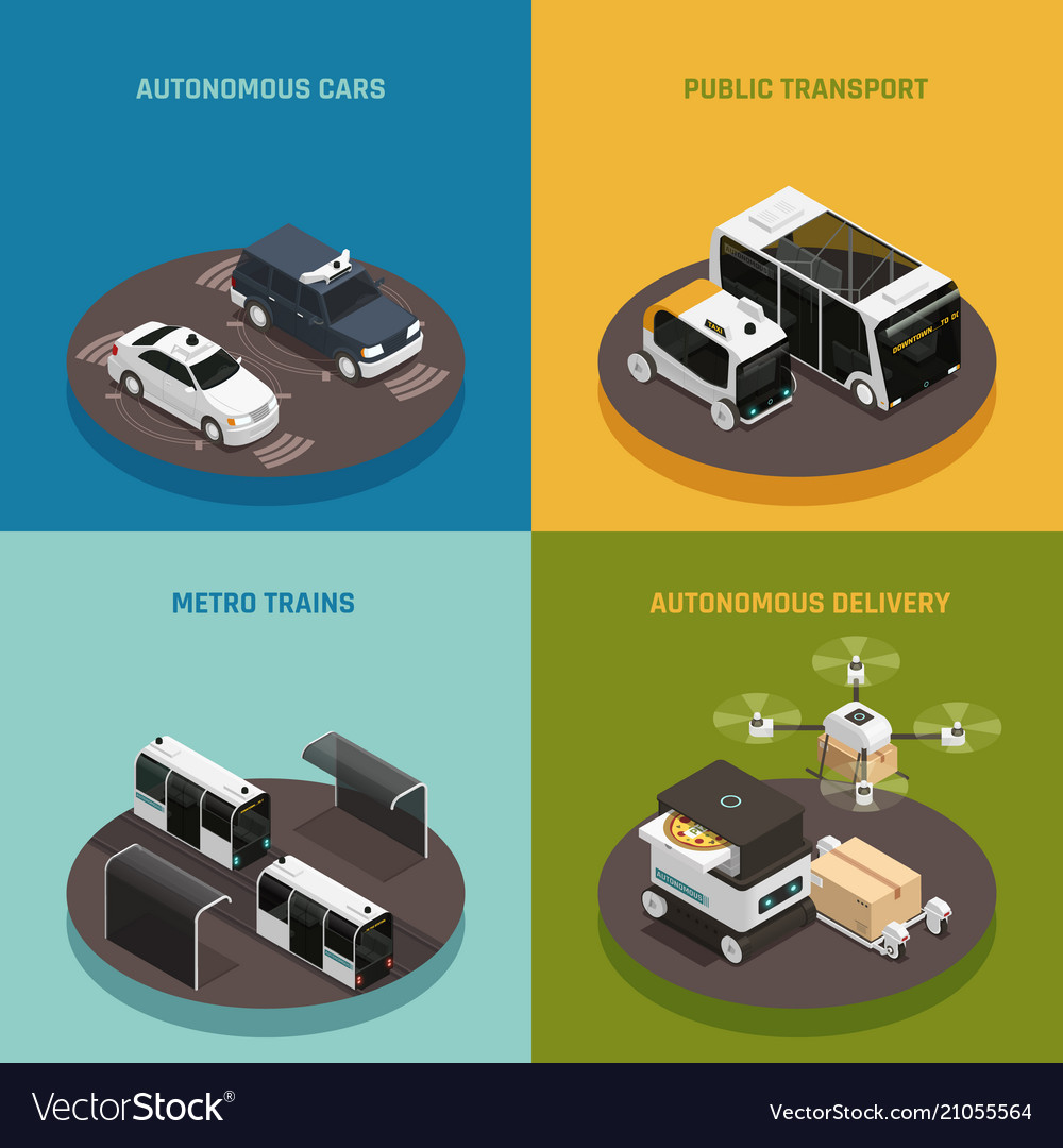 Autonomous vehicles isometric design concept