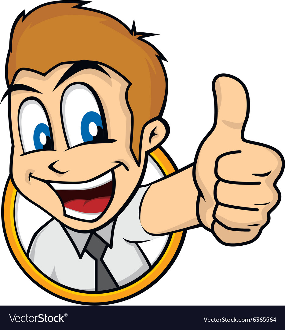 cartoon guy thumbs up royalty free vector image