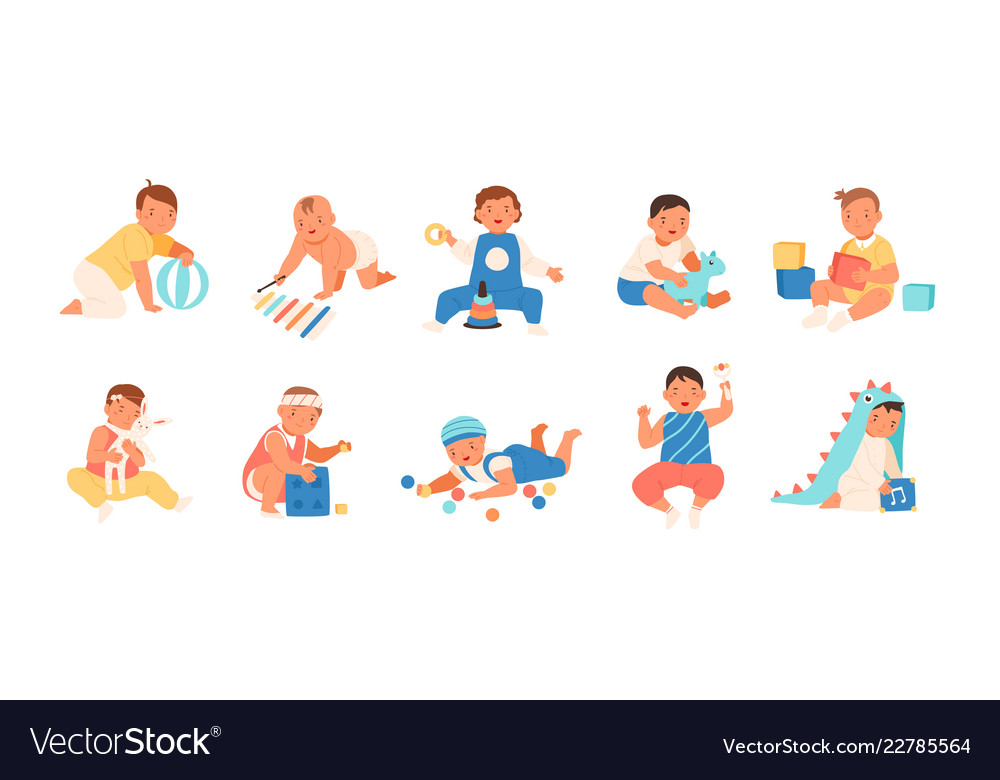 Collection of happy adorable babies playing with