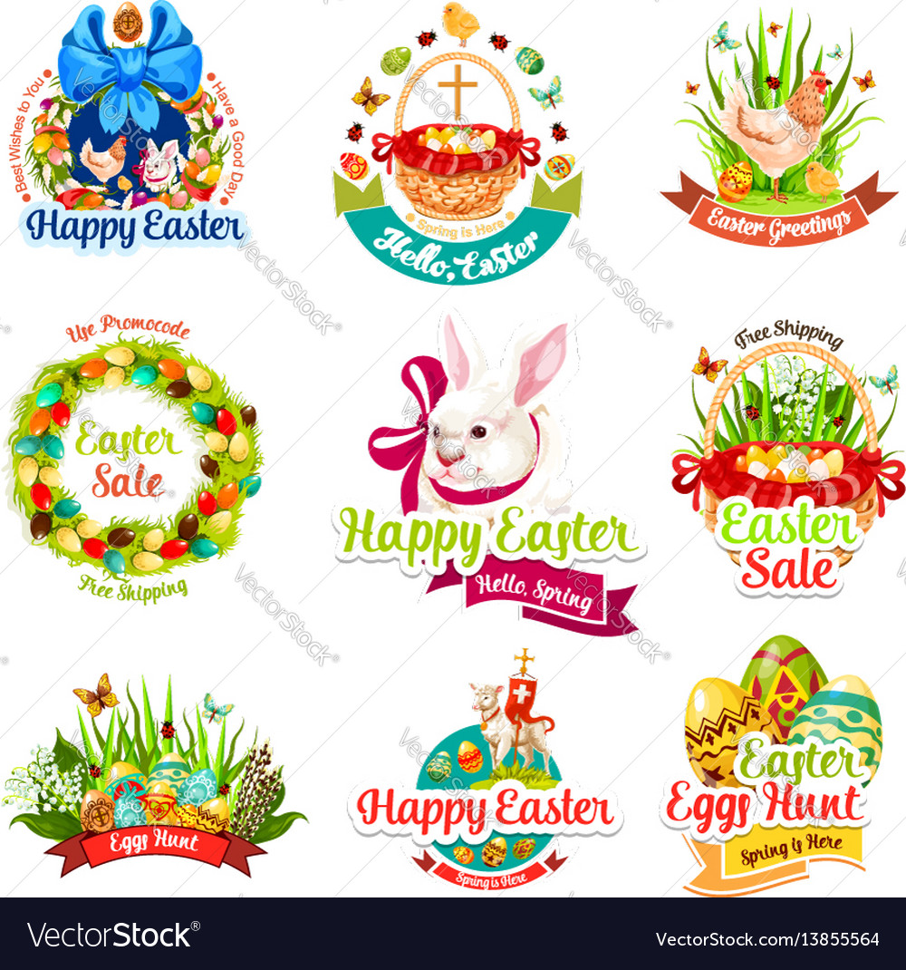 Easter sale and egg hunt celebration cartoon icons