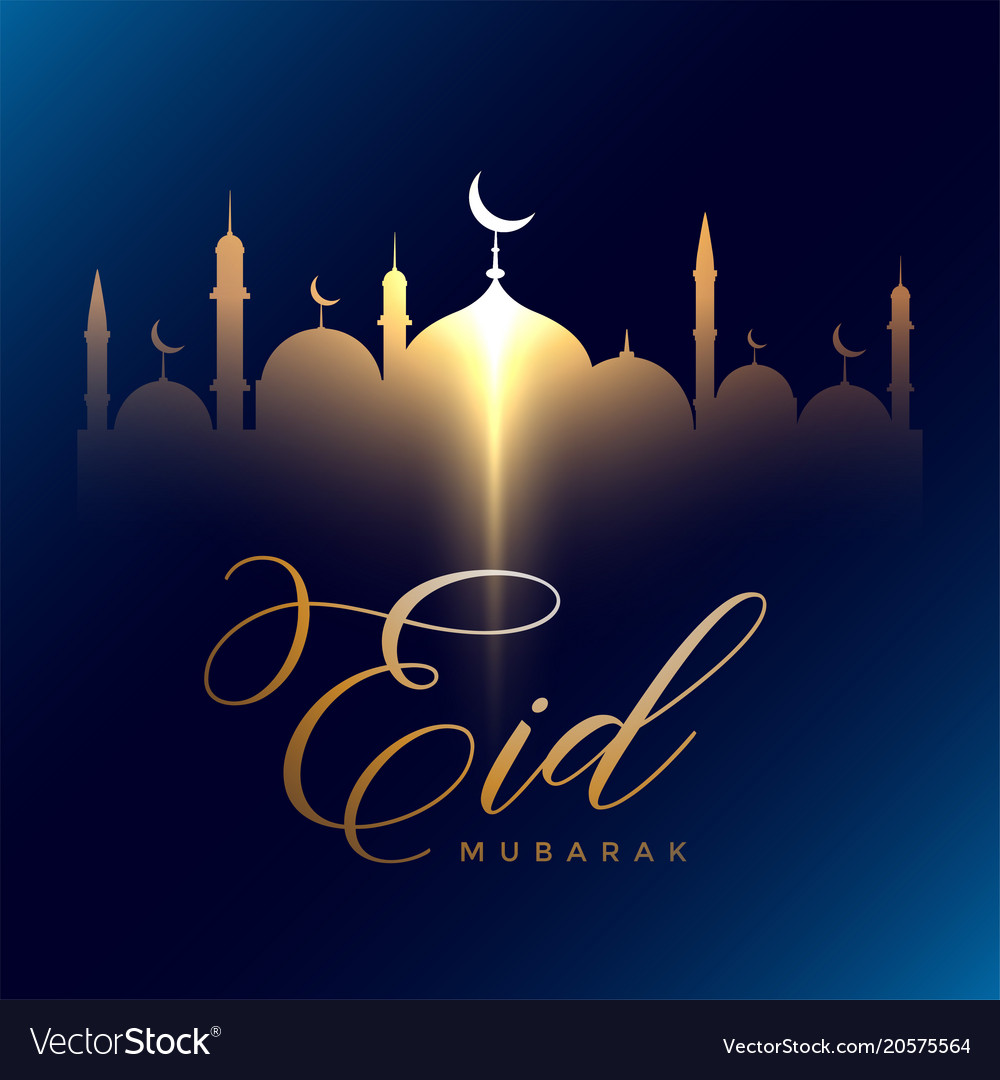 eid mubarak greeting with glowing golden mosque vector image