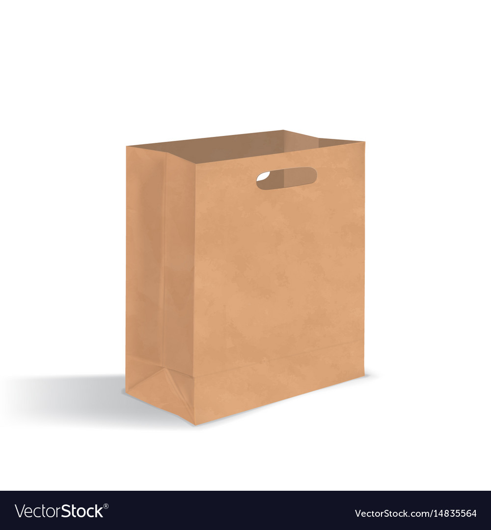 Empty Brown Paper Bag With Handles Holes