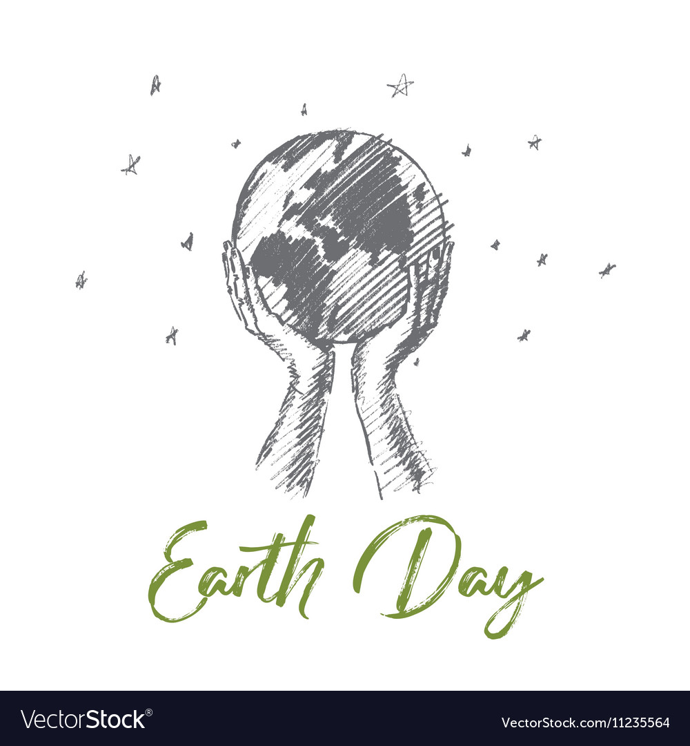 Hand drawn Earth day concept with lettering