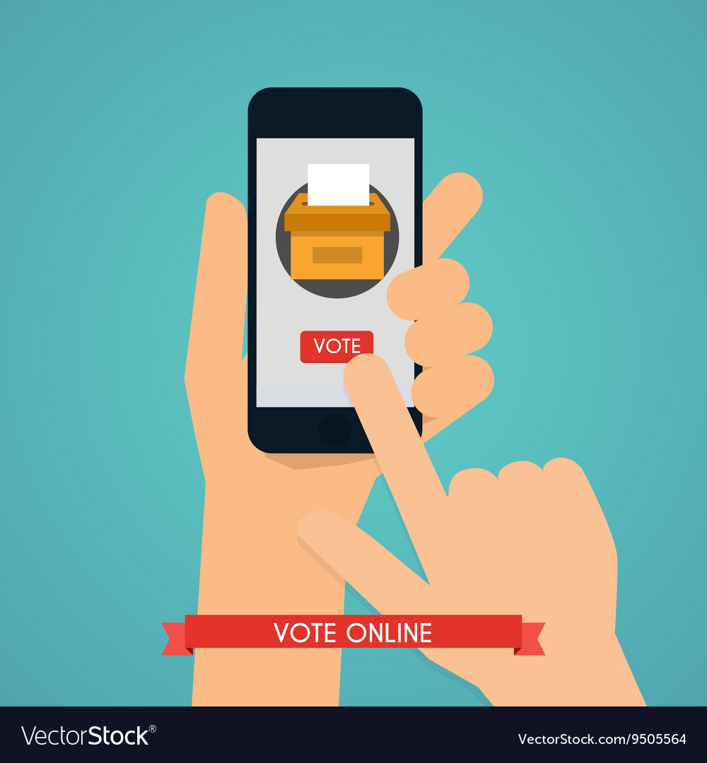 Hand holding smartphone with voting app on the