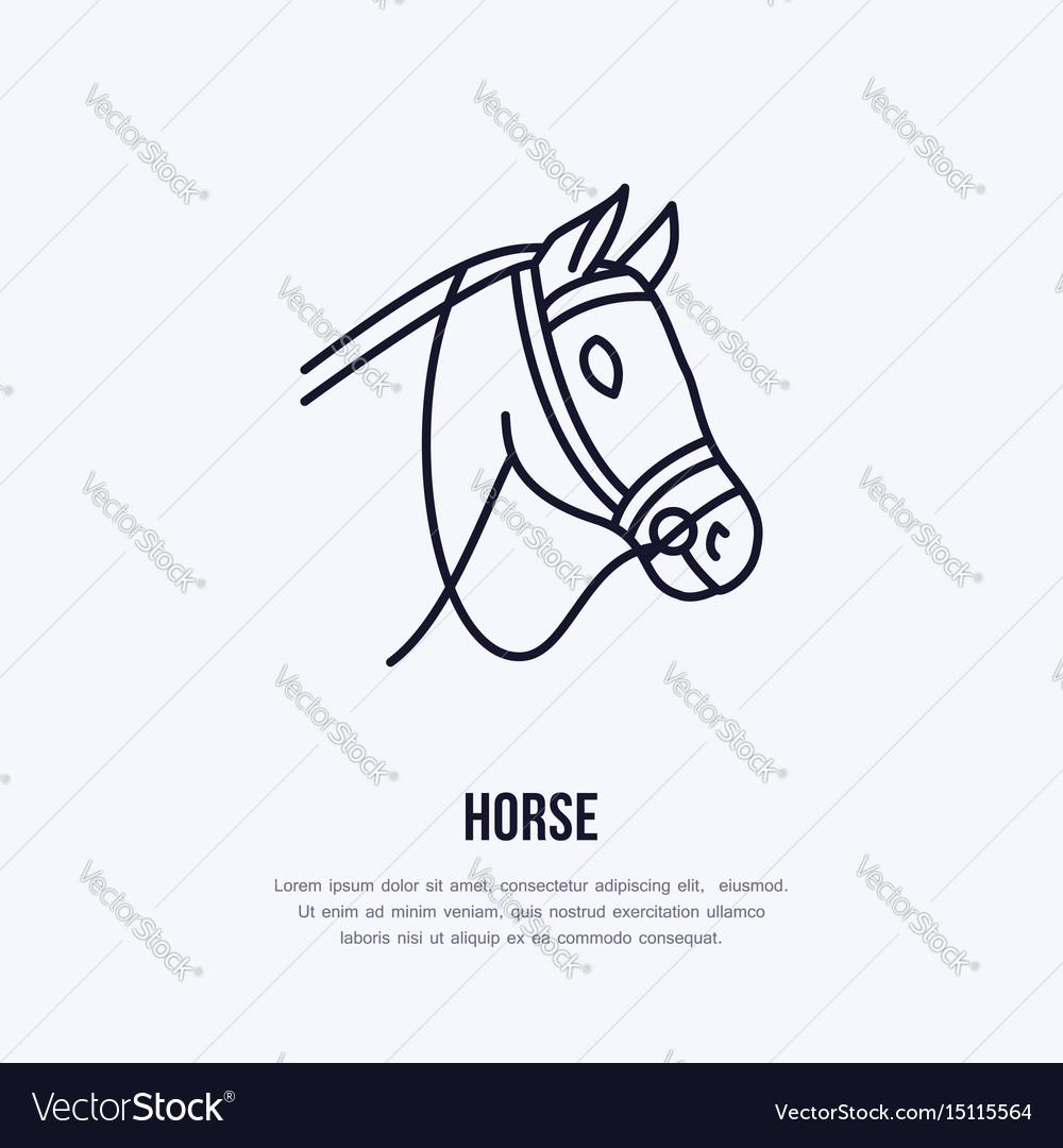 Horse Cute Pony Flat Line Icon Logo Royalty Free Vector