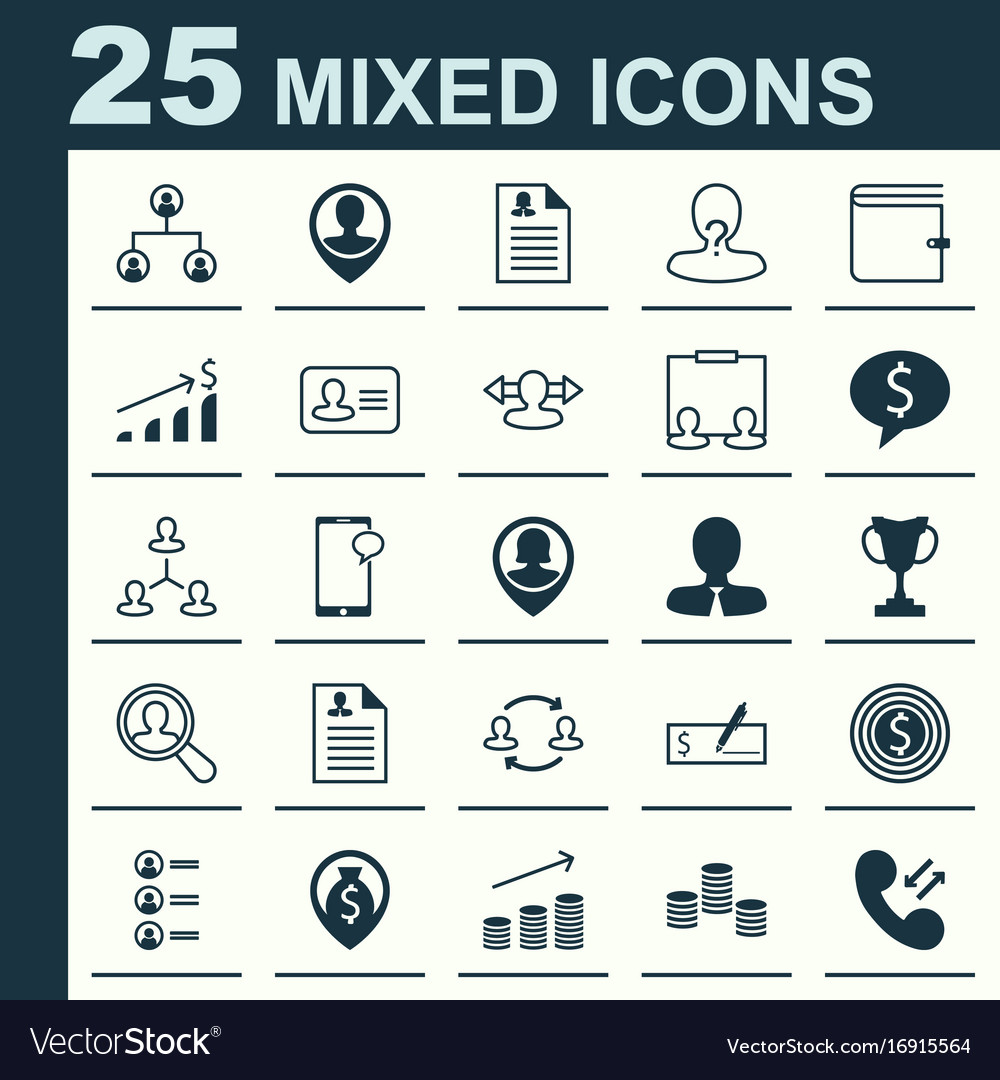 Hr icons set collection of partnership call