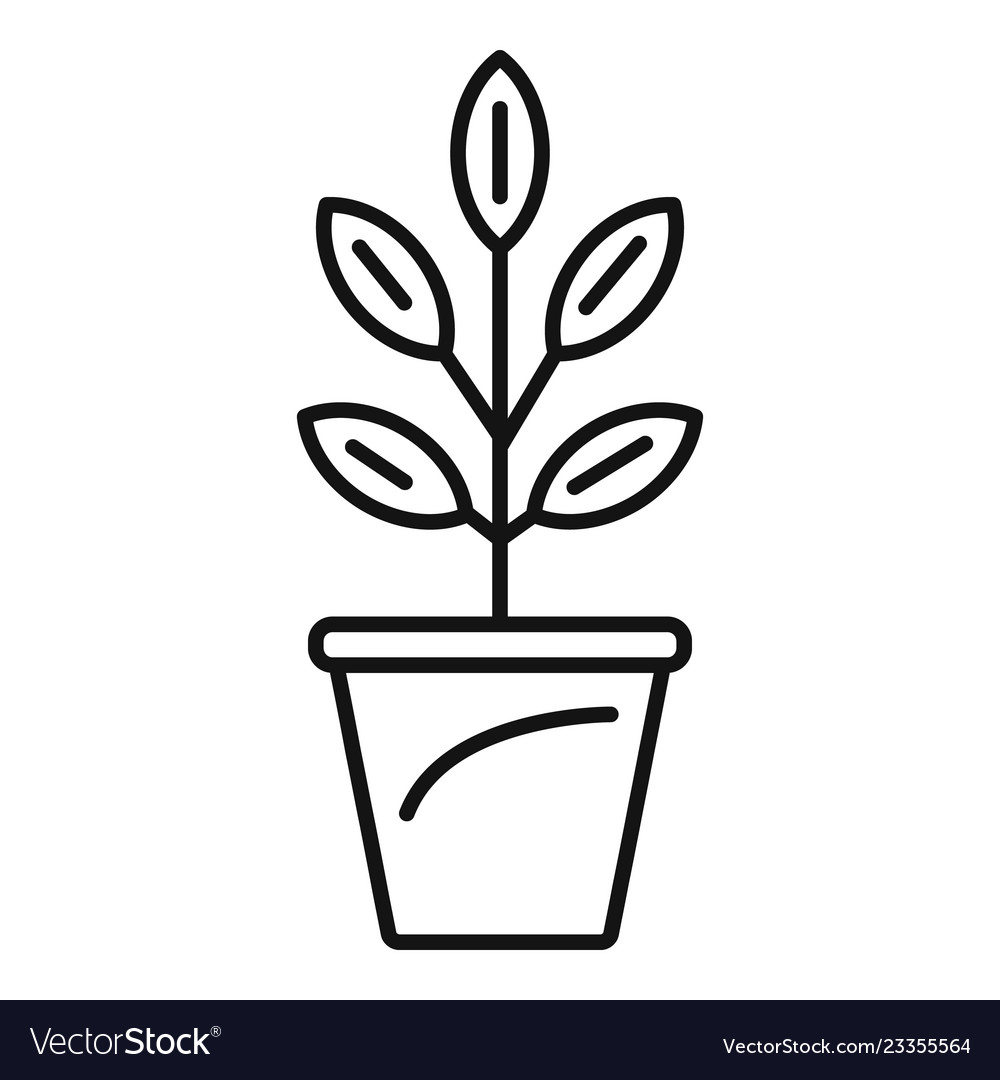 Pepper plant pot icon outline style vector image  sc 1 st  VectorStock & Pepper plant pot icon outline style Royalty Free Vector
