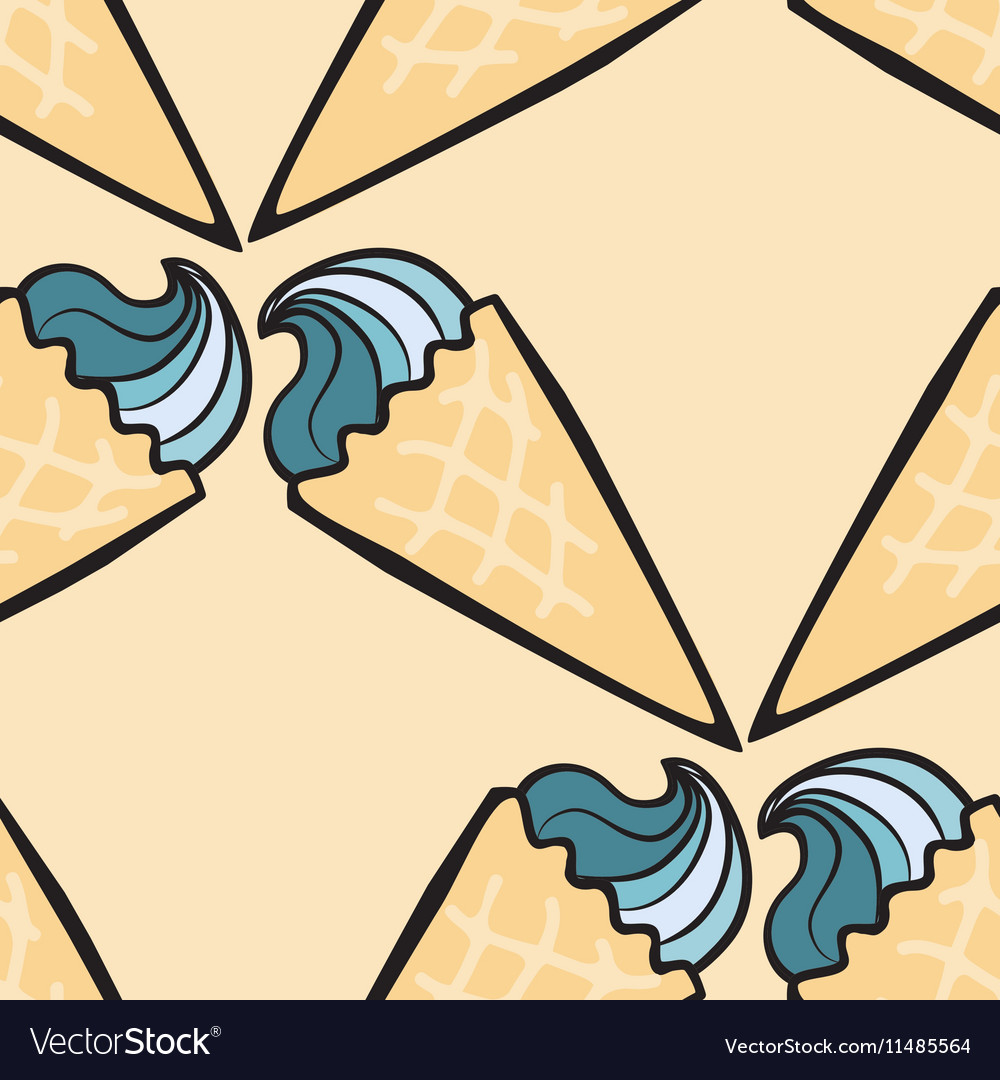 Seamless pattern with hand drawn ice cream vector image
