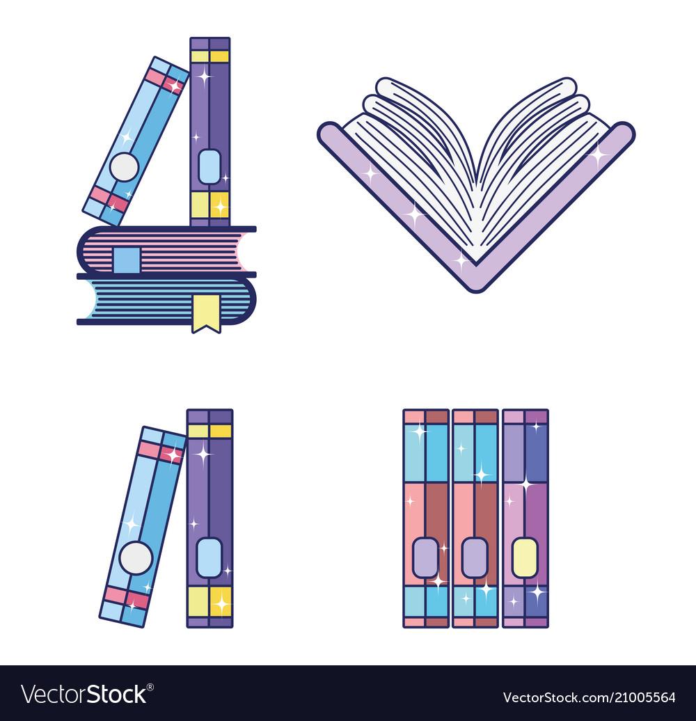 Set of magic books vector image on VectorStock