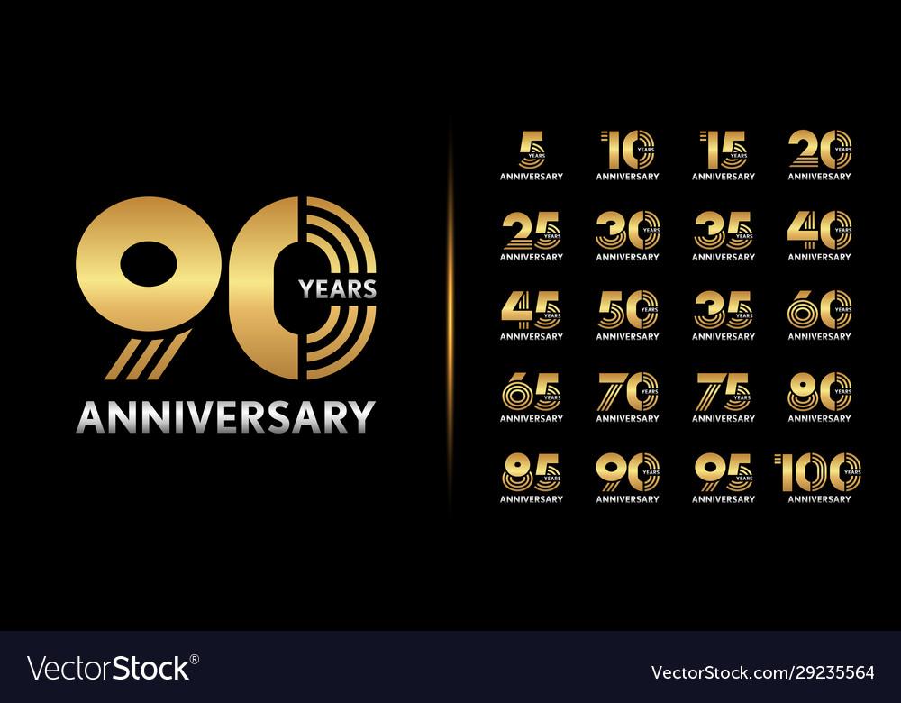 Set premium anniversary logotype golden
