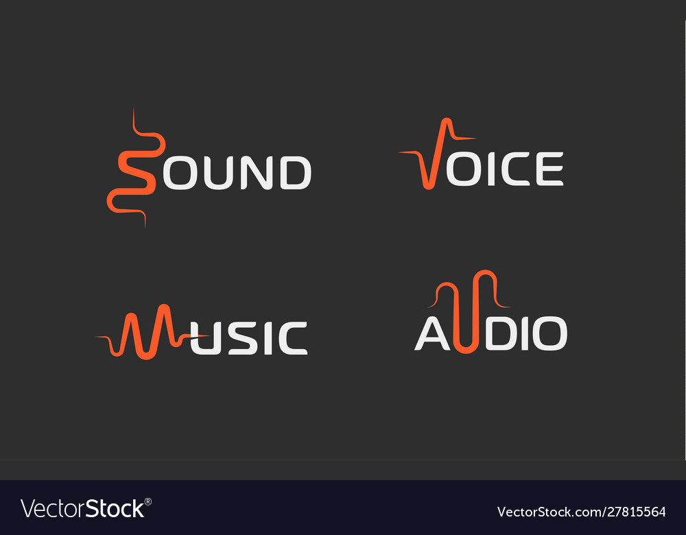 Set sound wave abstract symbol voice recorder
