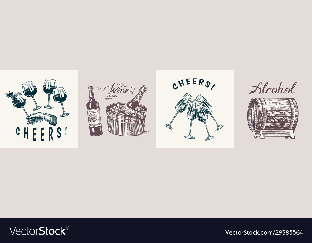Wine posters or banners set alcoholic drink in