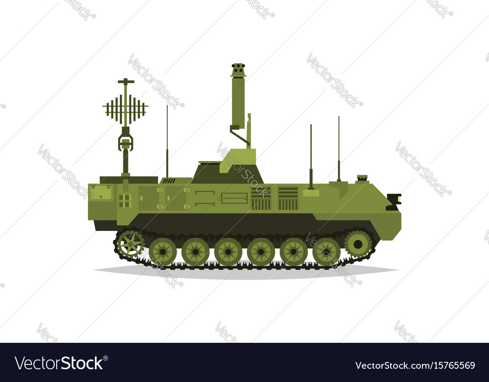 Air defense control system broadcasting vector image