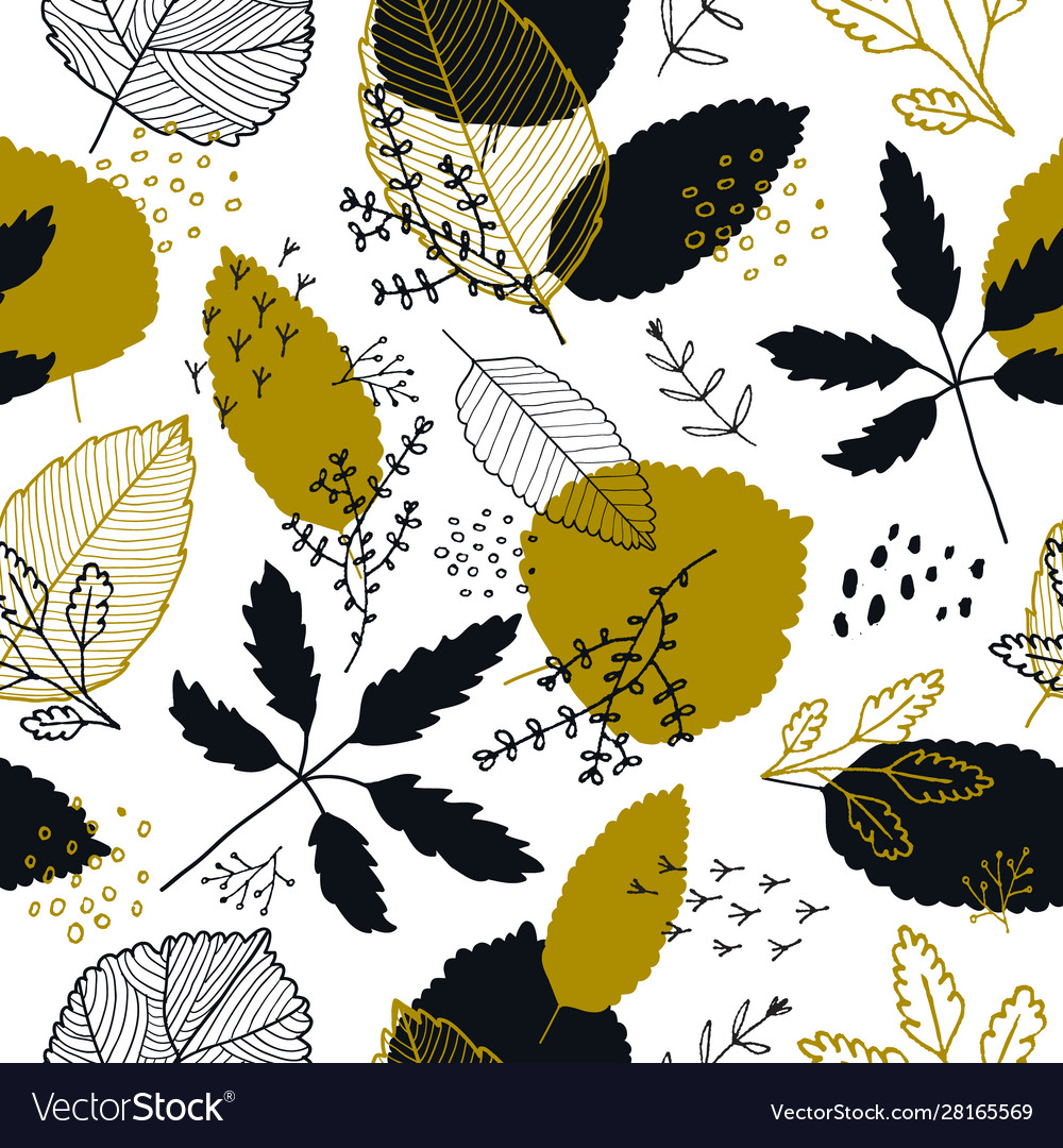 Autumn leaves seamless pattern fall