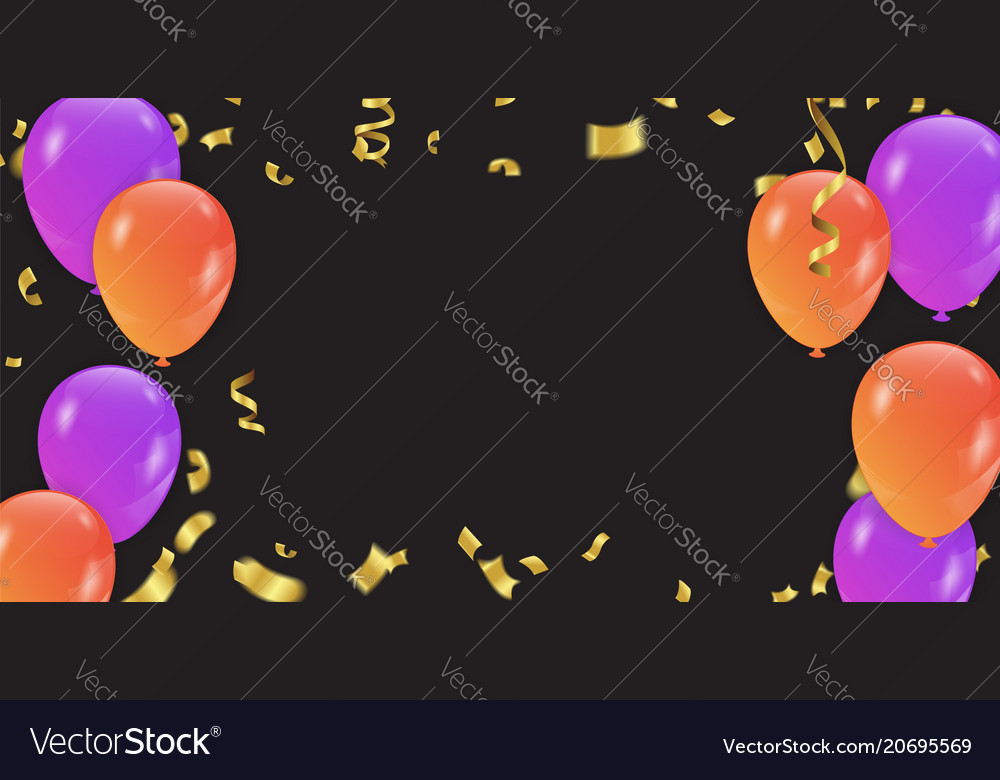 Background with purple and orange balloons and