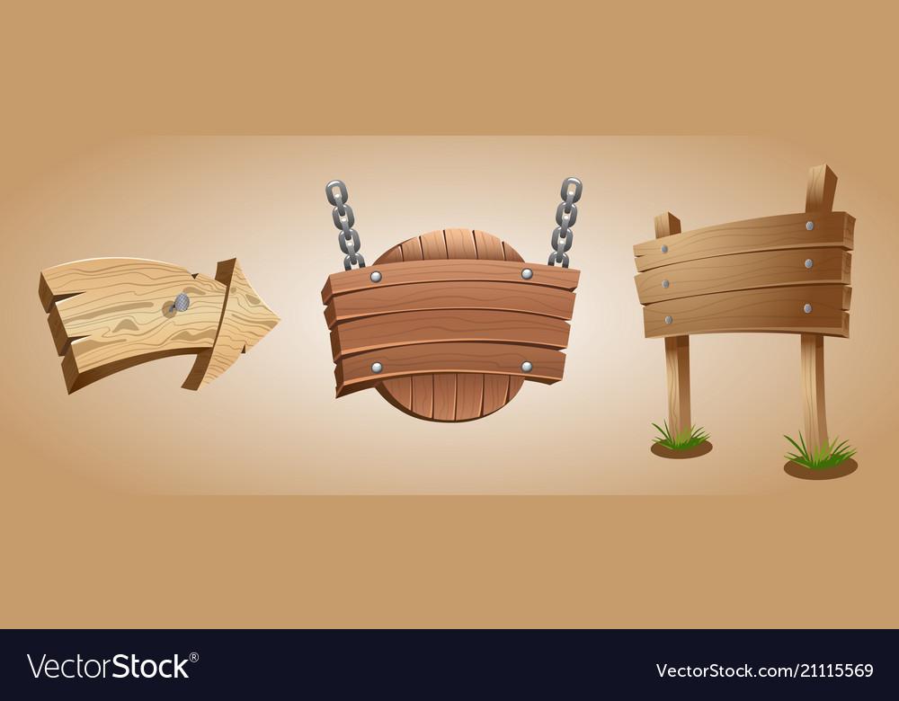 Cartoon wooden arrow and signboards
