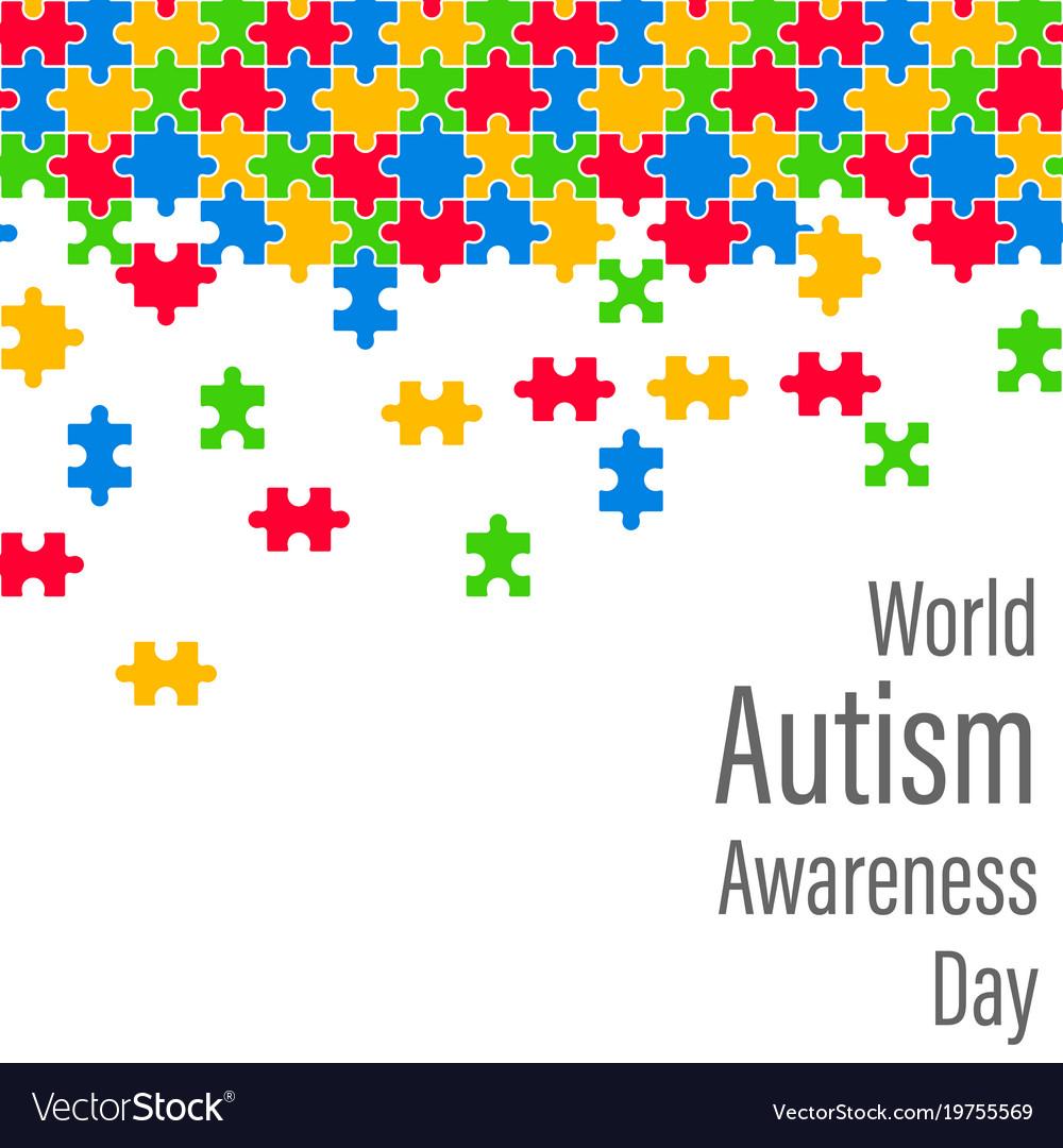 Colorful jigsaw drop world autism awareness day