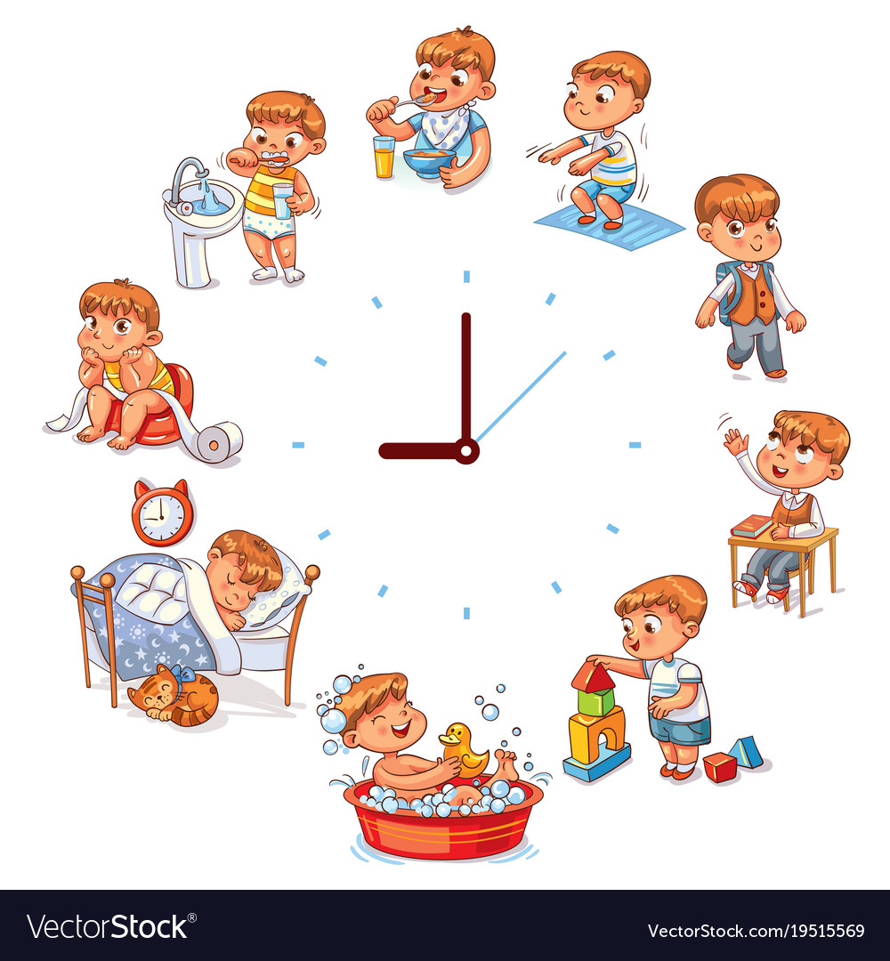 daily routine royalty free vector image vectorstock