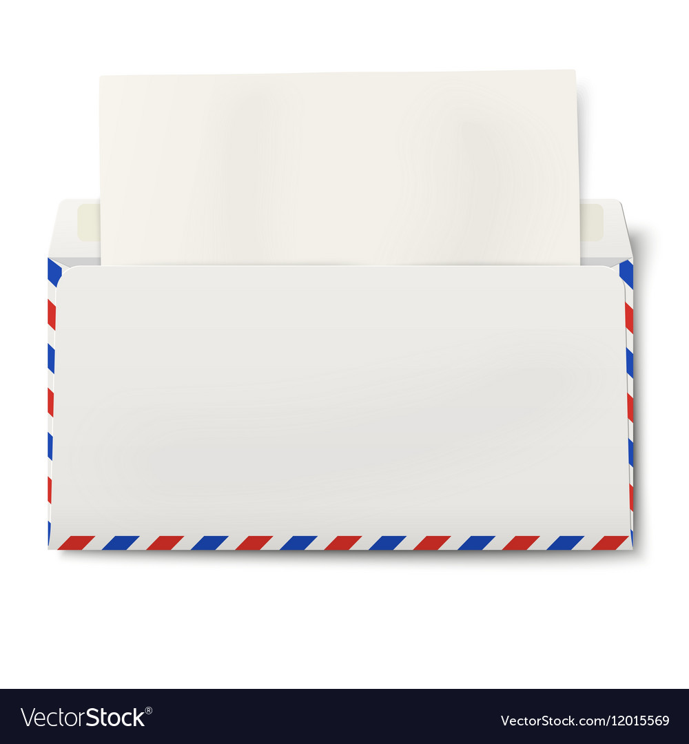 DL air mail envelope with white paper inside
