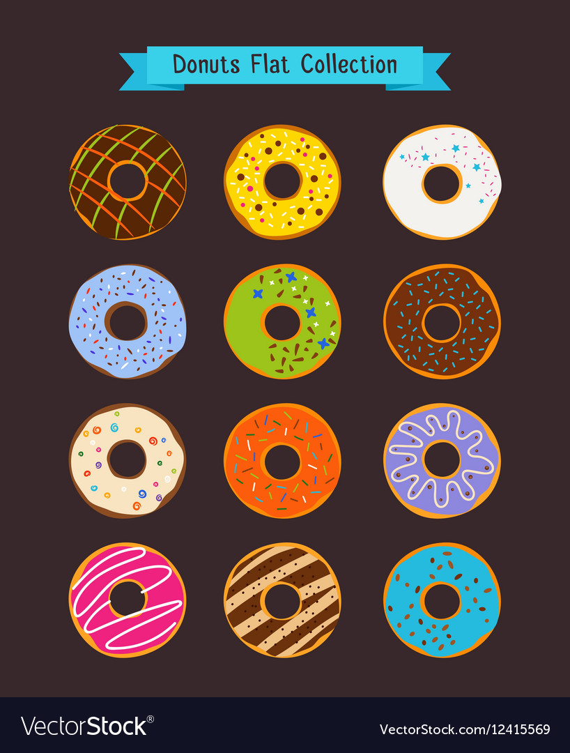 Donuts flat icons Donut and coffee shop elements