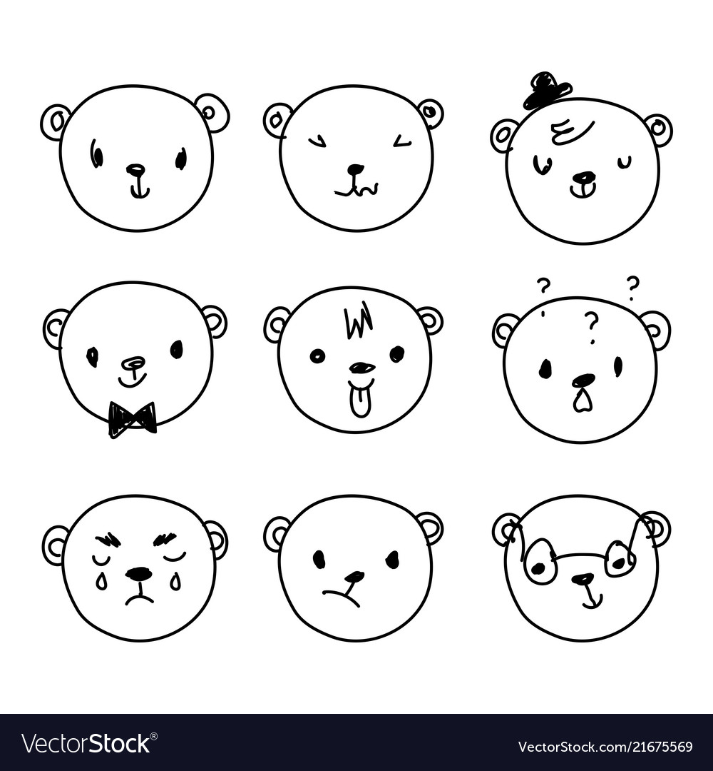 Emoticon doodles set hand drawn bear heads
