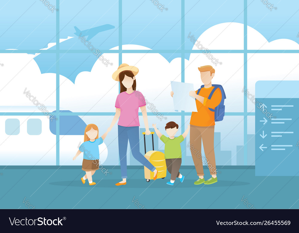 Family walking in airport terminal for vacation