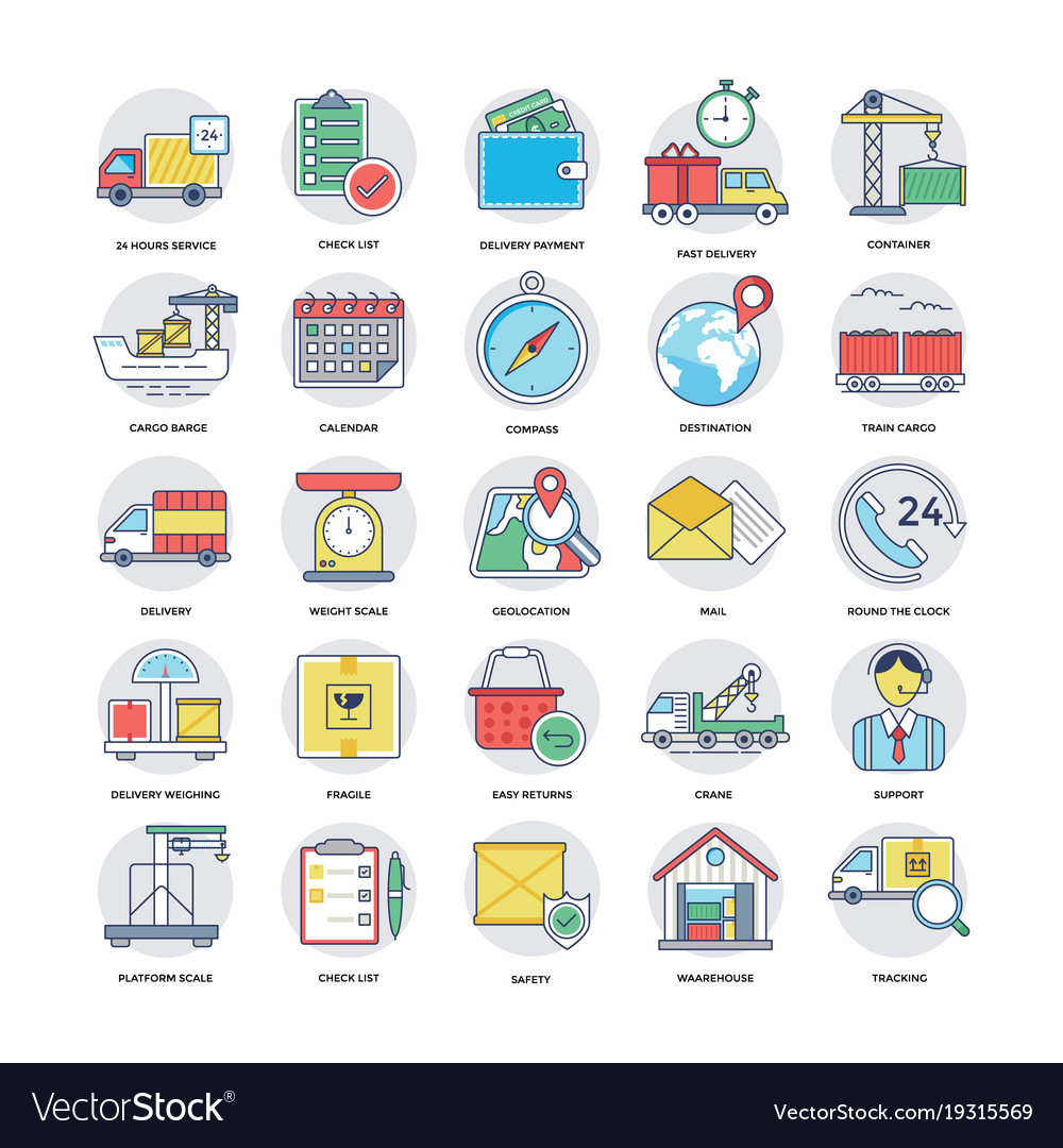 Flat icons set of logistics delivery