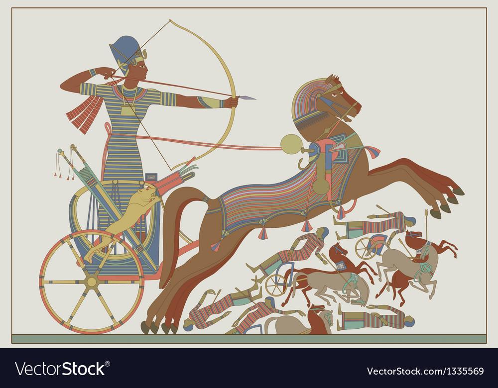 Fresco of the pharaoh Ramses in a battle
