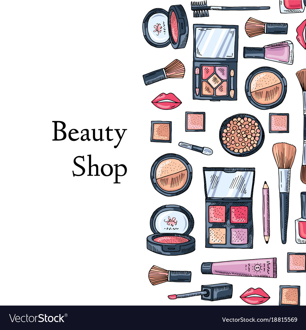 Hand Drawn Makeup Products Background Royalty Free Vector
