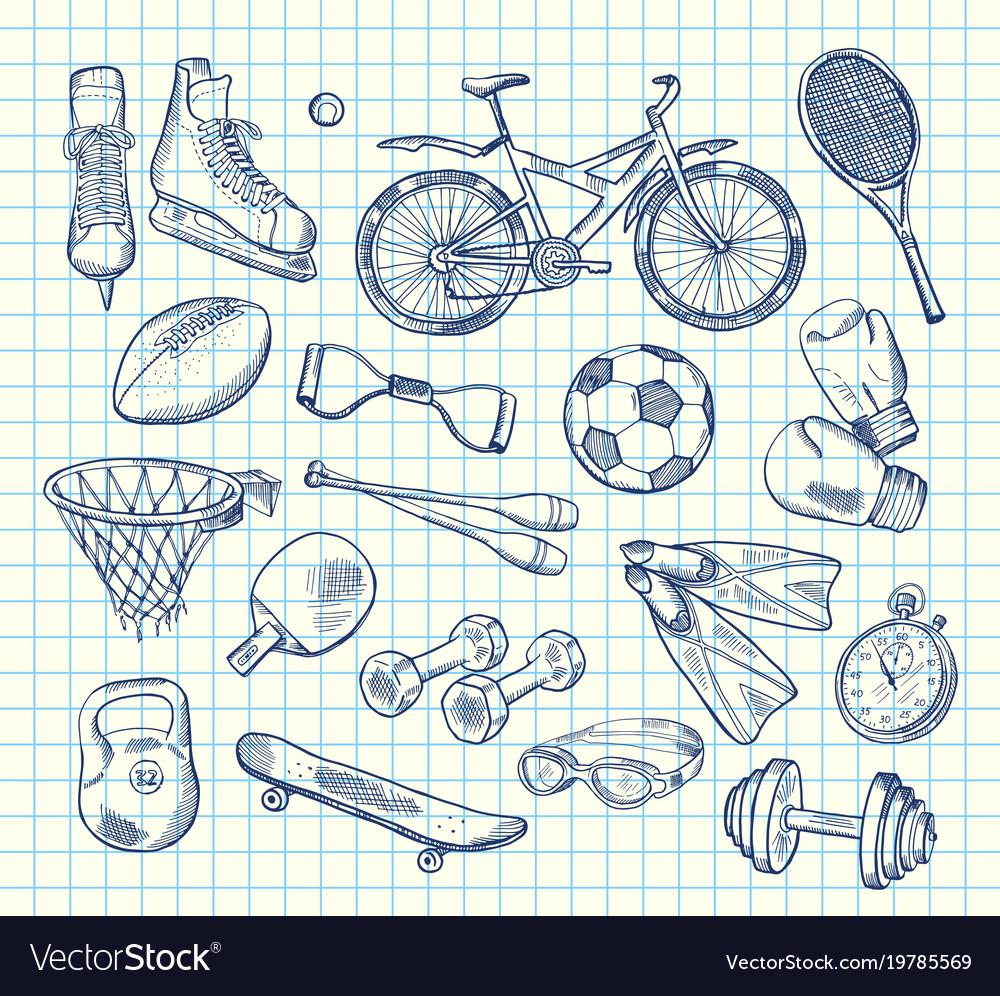 Hand drawn sports equipment