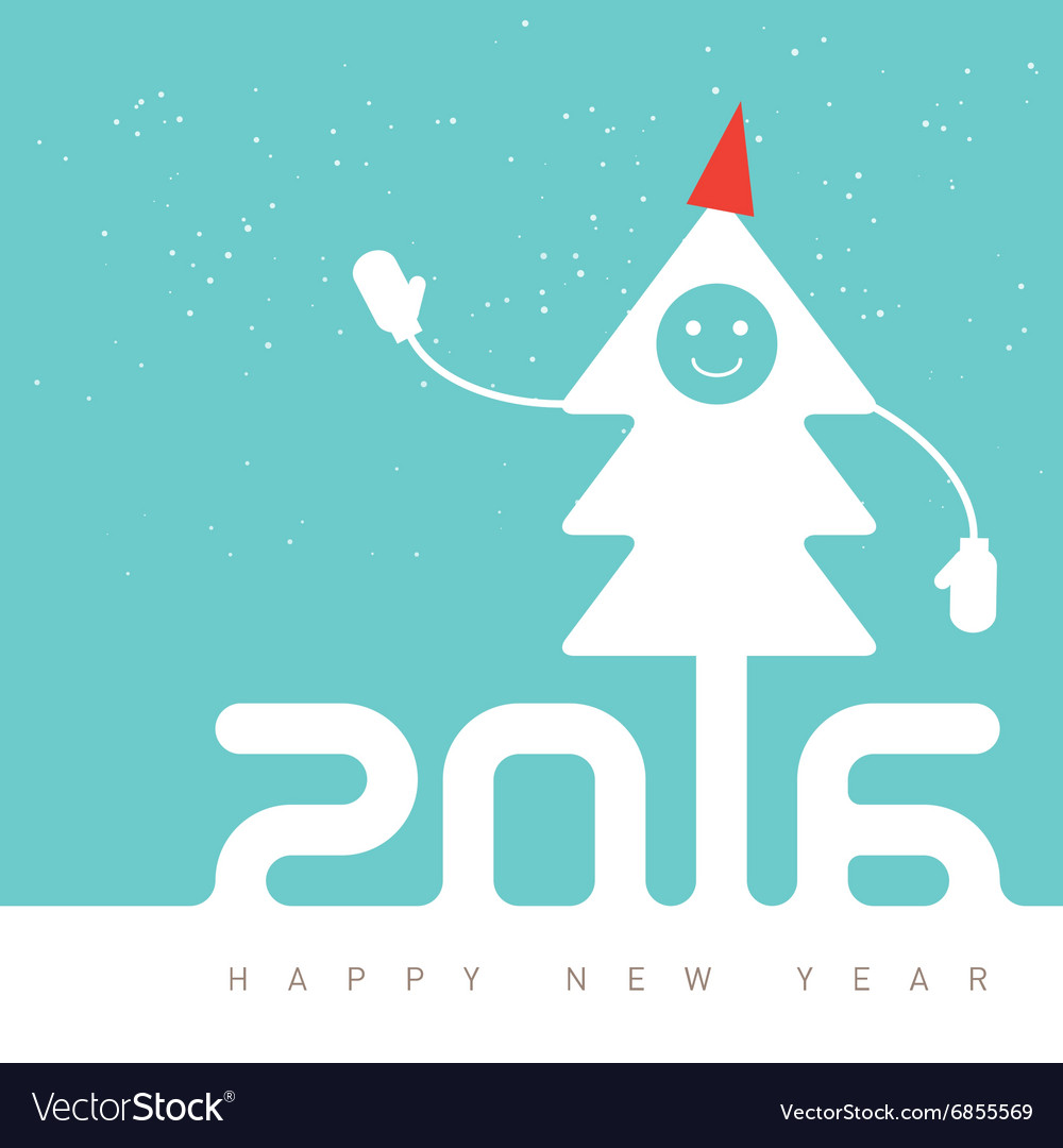 Happy New Year Design with smiling Christmas tree