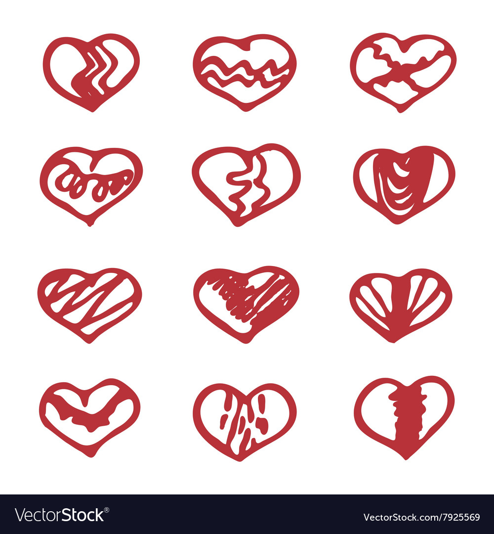 Love set unique hand drawn icons romantic