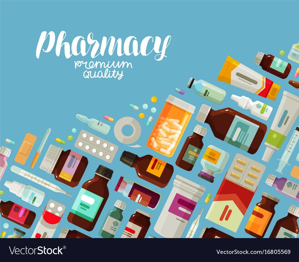 Pharmacy pharmacology banner medicine bottles