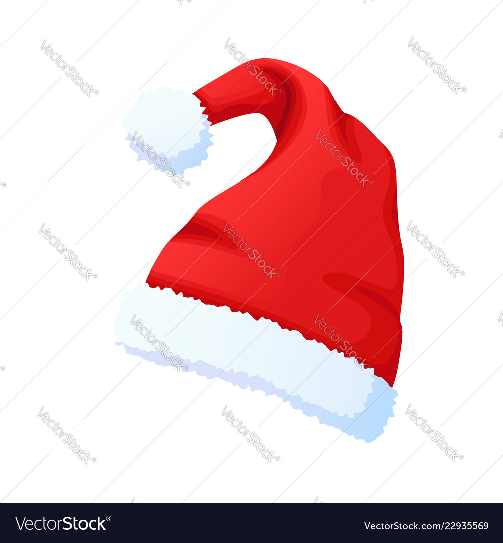 Red santa claus hat new year cap isolated