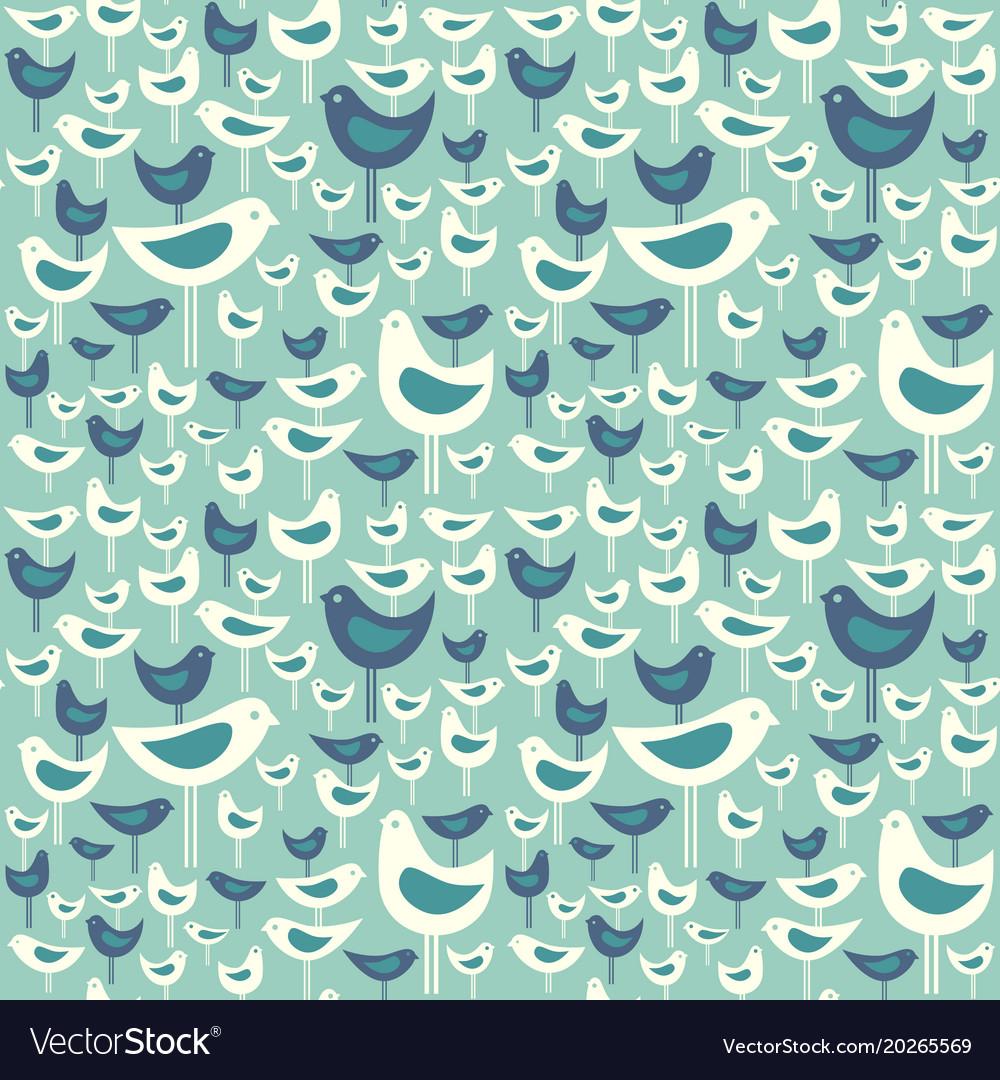 Seamless pattern of mid century modern birds vector image