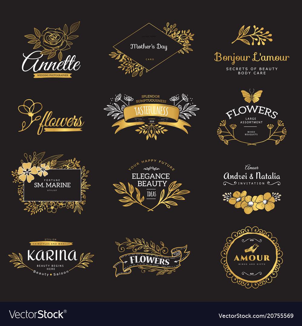 Set gold luxury logos