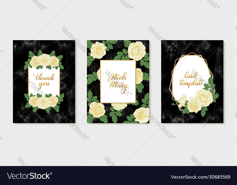 Set luxury wedding invitation with gold vector