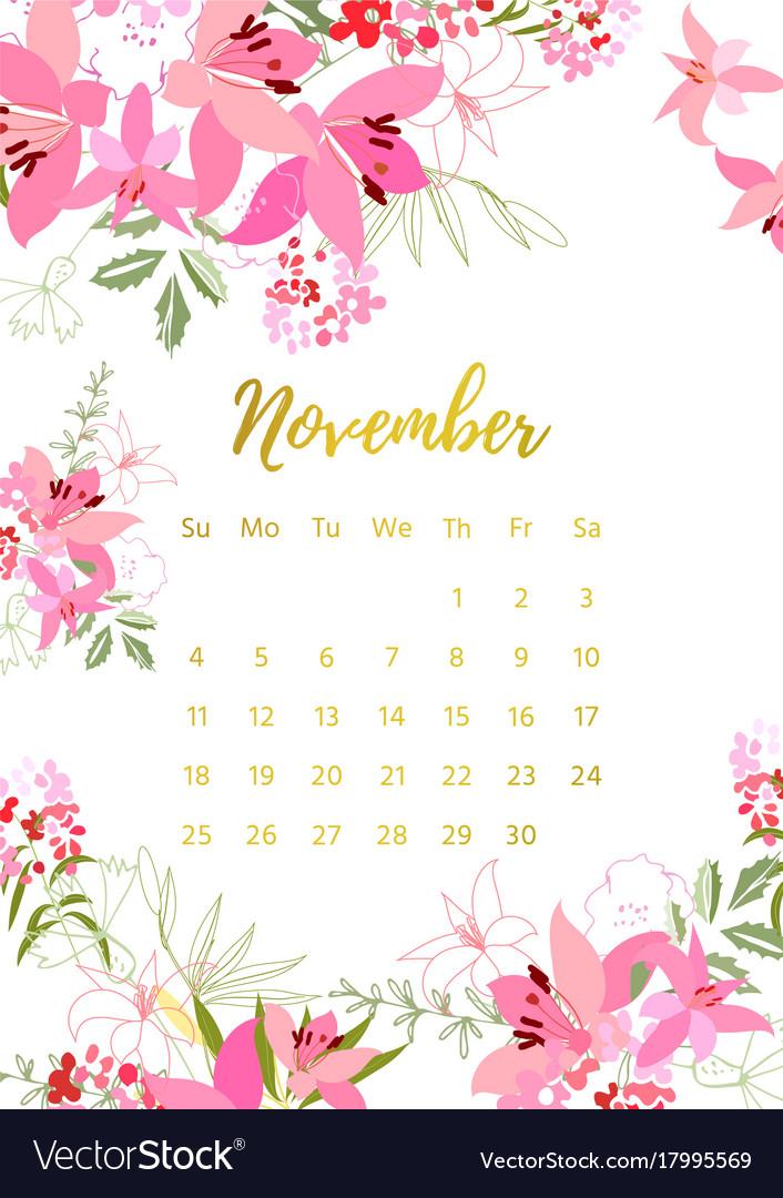 Vintage Floral Calendar 2018 Royalty Free Vector Image