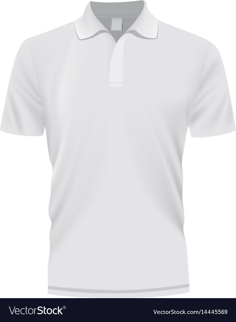 ab68f680 White polo shirt mockup realistic style Royalty Free Vector