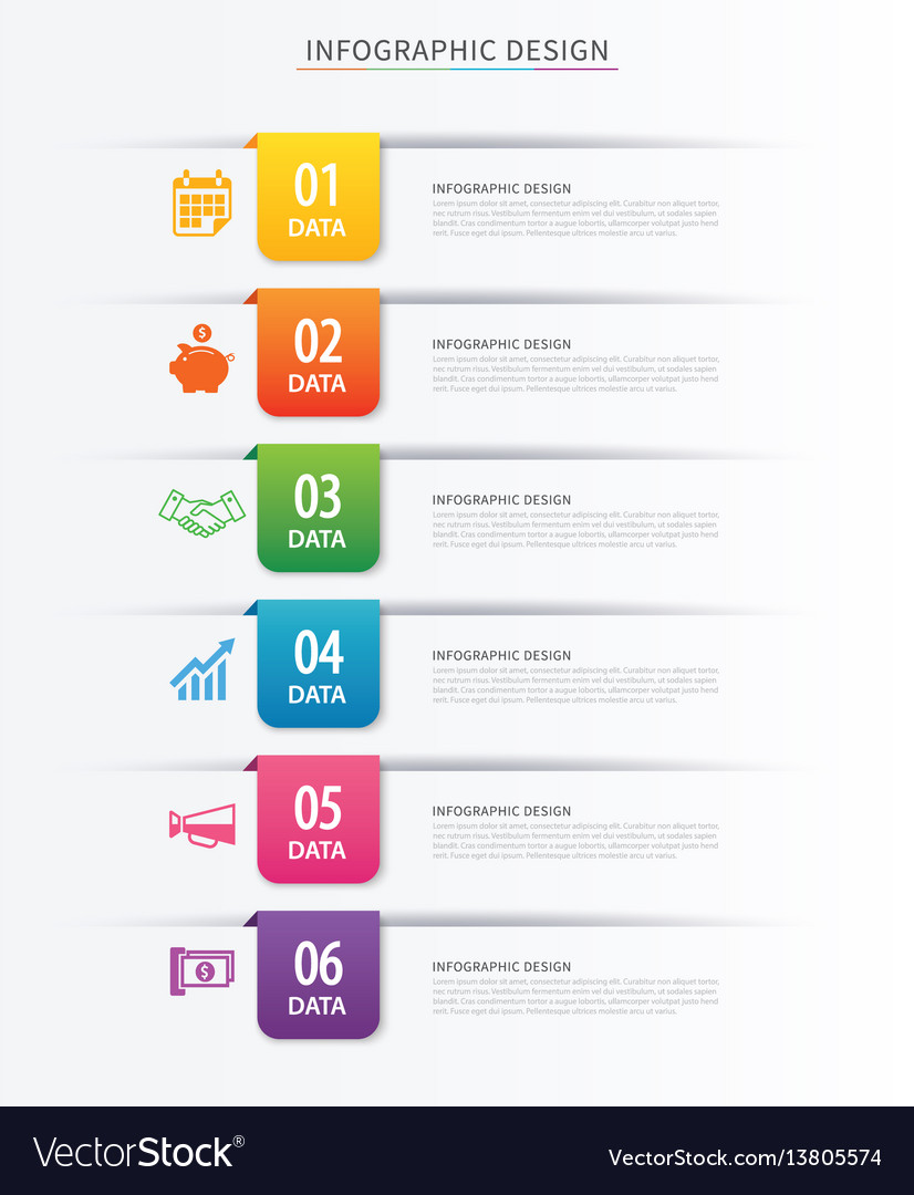 Business index infographics template with 6 data Vector Image