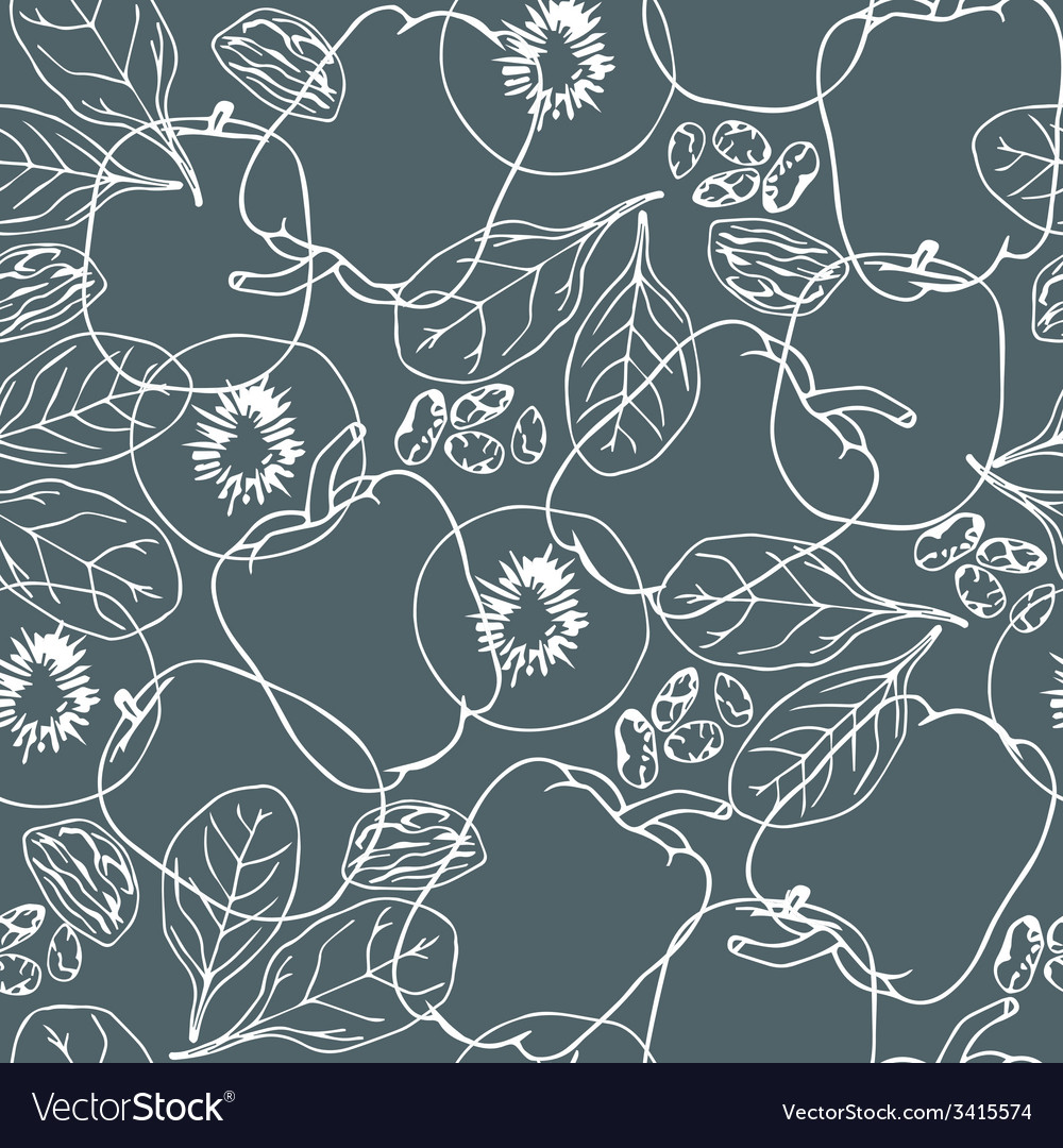 Contour vegetables seamless pattern