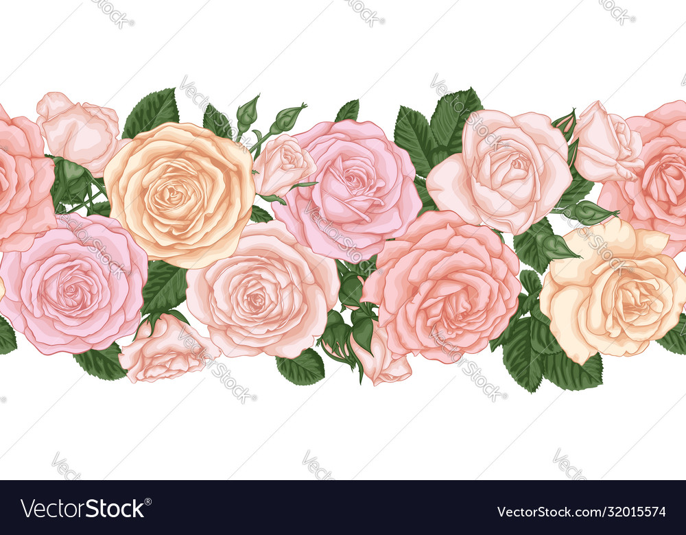 Horizontal seamless background with pink roses