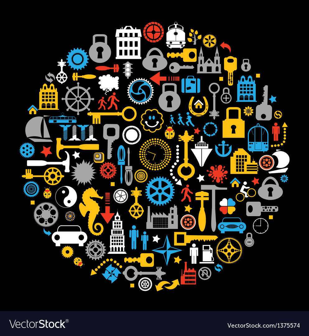 Objects on a black vector image