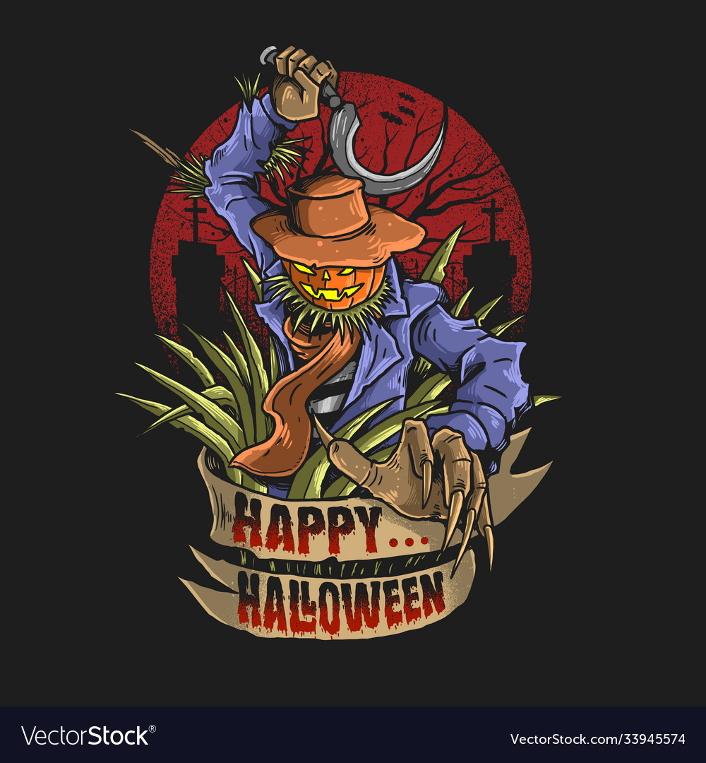 Scarecrow with scy graphic