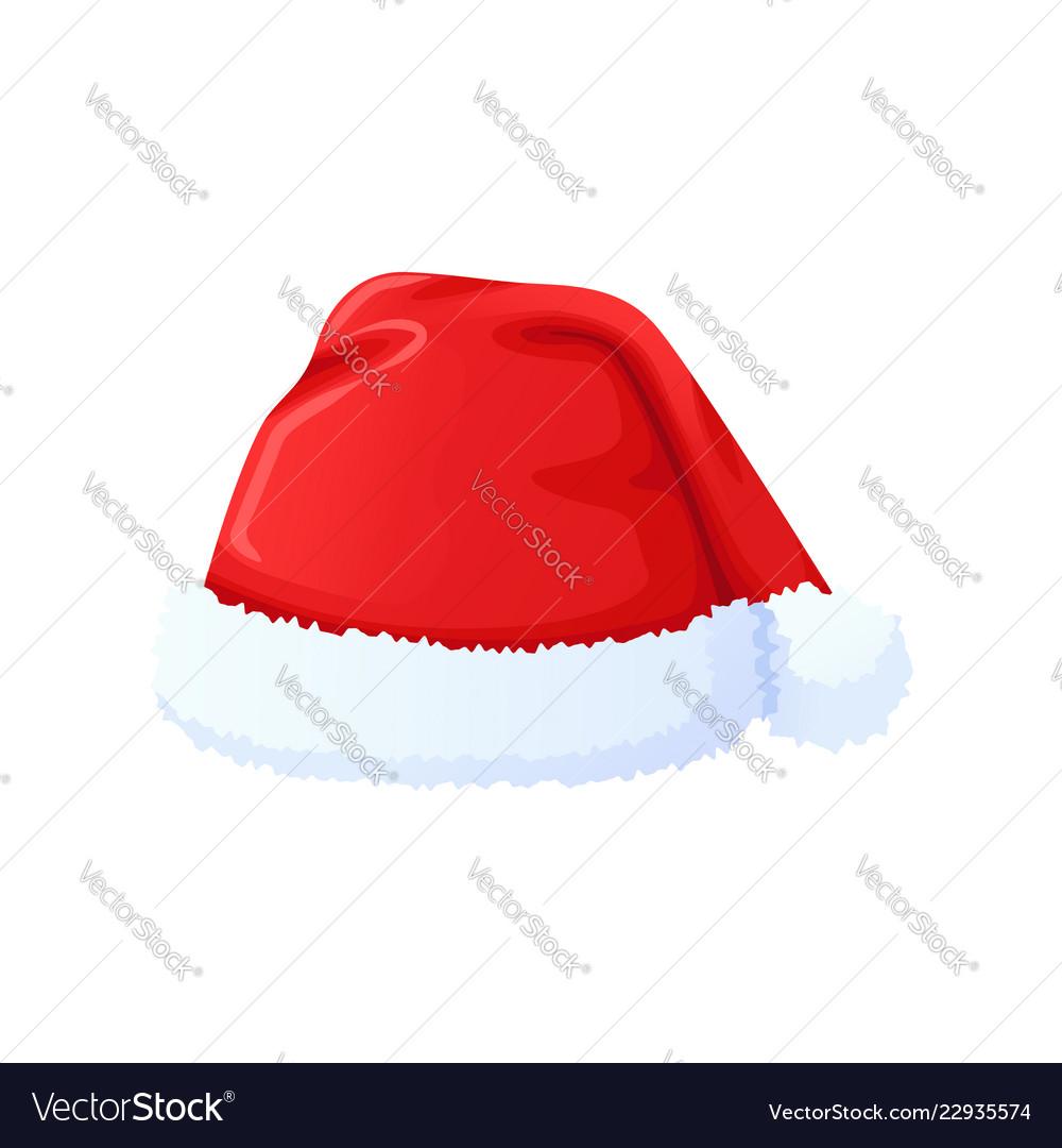 Set of red santa claus hat new year cap