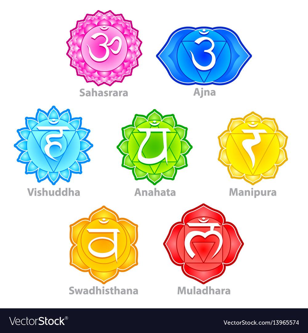 Seven chakras icons set