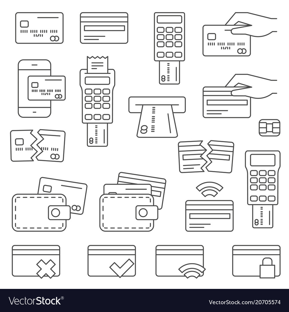 Simple set of credit card related line icons