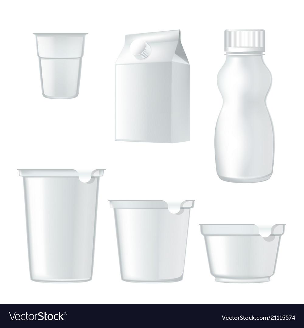 Yogurt package realistic mockup vector image
